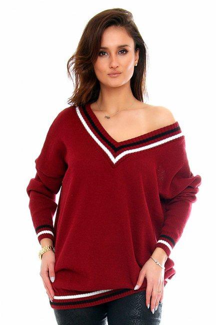 Sweter wycięty dekolt CMK2061 bordowy