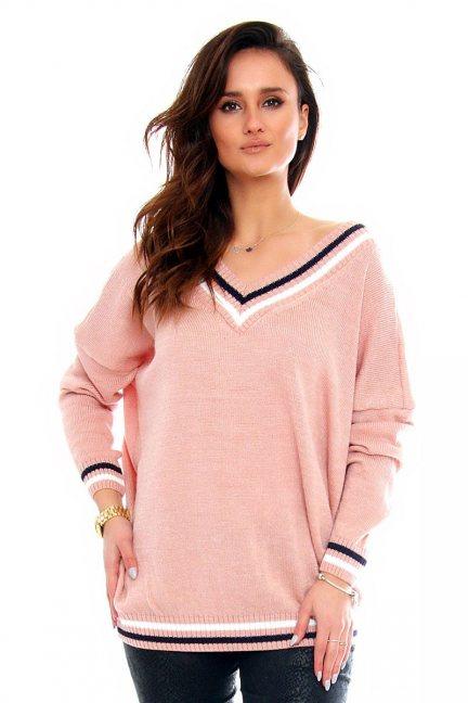 Sweter wycięty dekolt CMK2061 różowy