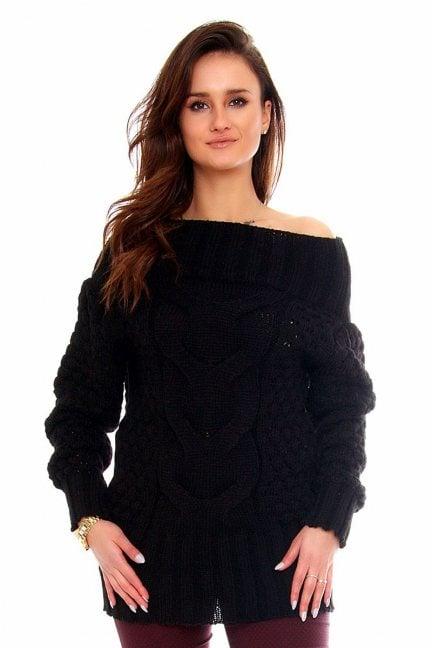 Sweter wełniany damski CMK2062 czarny