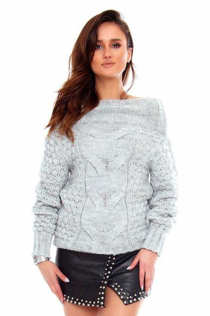 Sweter wełniany damski CMK2062 szary