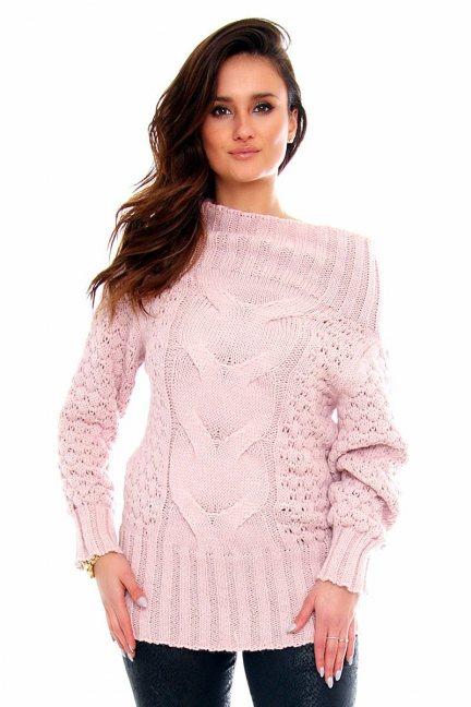 Sweter wełniany damski CMK2062 różowy