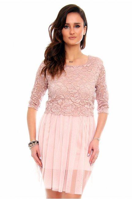 Sukienka koronkowa tiul CMK854 pudrowy róż