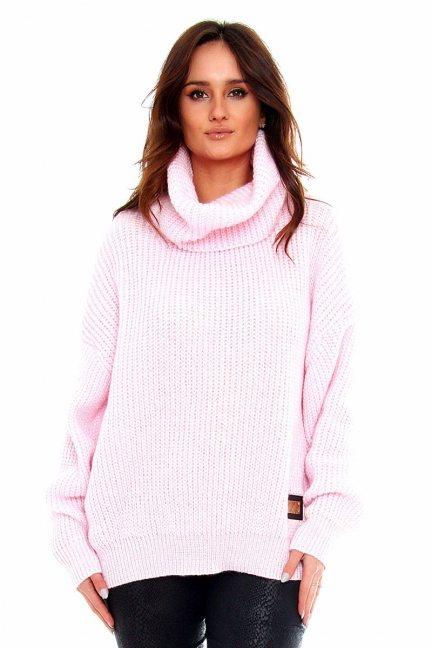 Sweter damski z golfem CMK2063 różowy