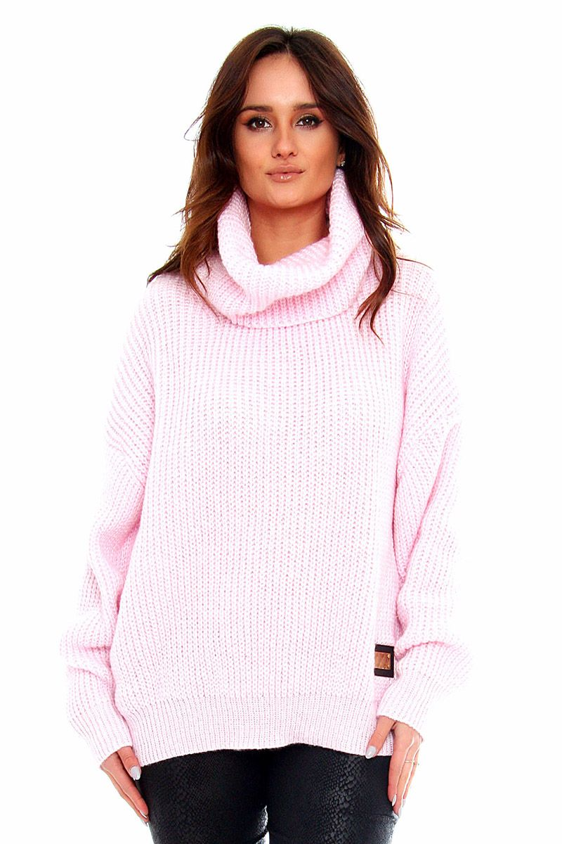 90d7b5347ec6d6 Sweter damski z golfem CMK2063 różowy swetry damskie sklep CosmosModa