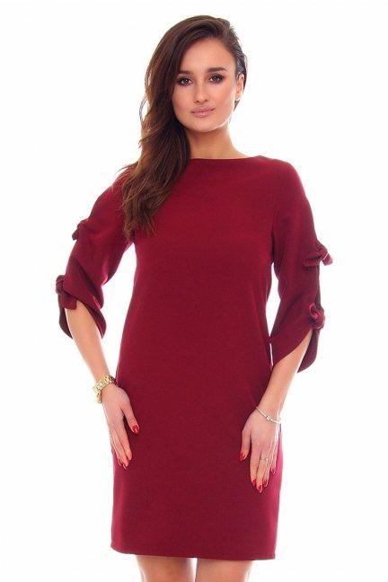 Sukienka elegancka kokardki CMK865 bordowa