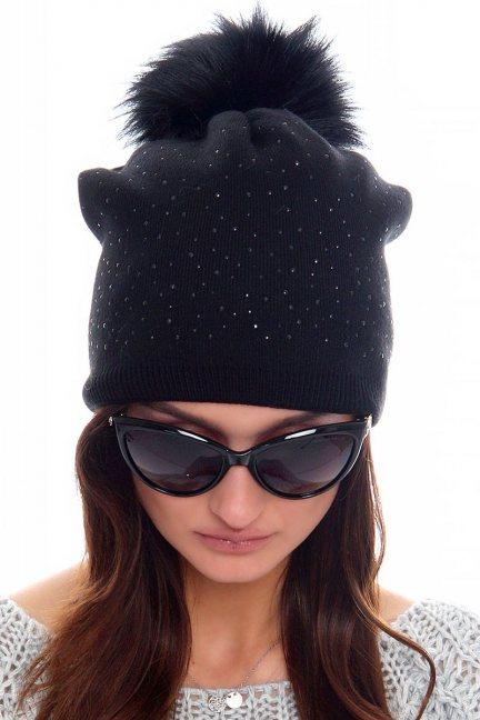 Czapka modna z cekinami CMC083 czarna