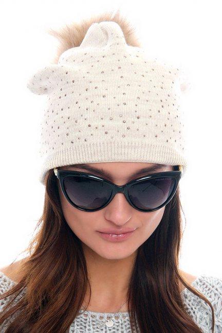 Czapka modna z cekinami CMC083 beżowa