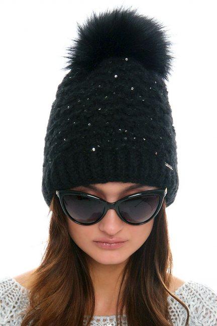 Czapka zimowa damska CMC084 czarna