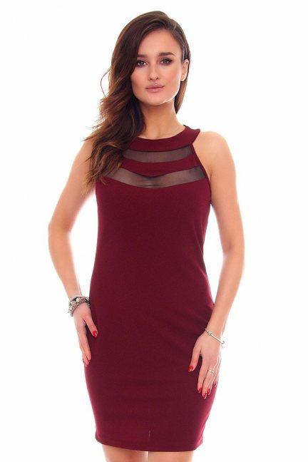 Sukienka ołówkowa mini CM528 bordowa