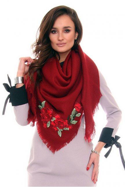 Szalik haftowane róże CMS40 czerwony
