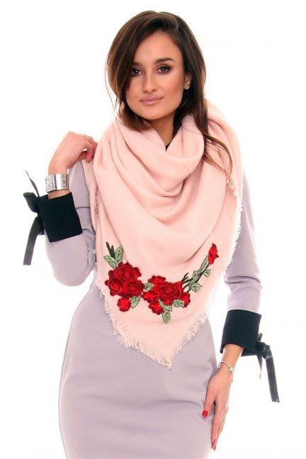 Szalik haftowane róże CMS40 pudrowy róż