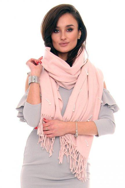 Szalik modny z perełkami CMS43 różowy