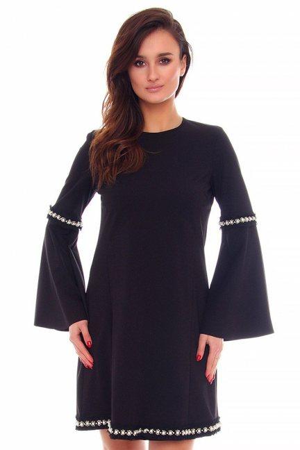 Sukienka trapezowa perełki CMK870 czarna