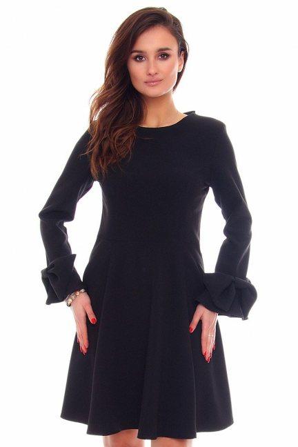 Sukienka rozkloszowana midi CMK871 czarna
