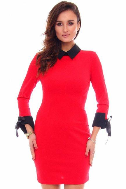 Sukienka pensjonarka CMK424 czerwona
