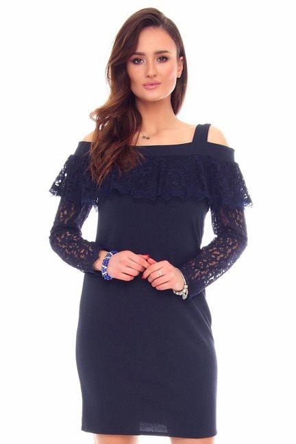 Sukienka mini z koronką CMK876 granatowa