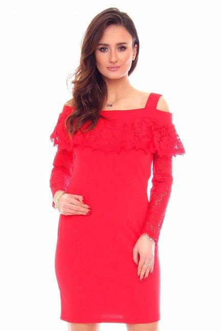 Sukienka mini z koronką CMK876 czerwona