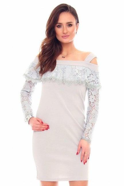Sukienka mini z koronką CMK876 szara