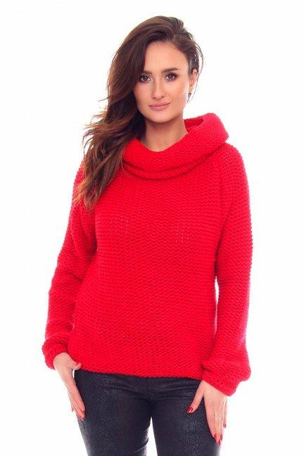 Sweter ciepły duży golf CMK2033 czerwony