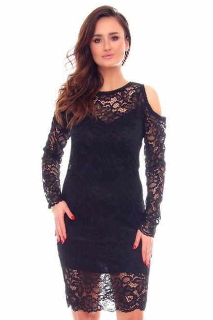 Sukienka koronkowa midi CMK879 czarna