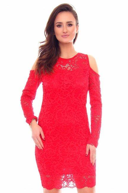 Sukienka koronkowa midi CMK879 czerwona