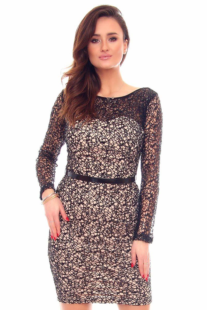 f30a619f7f Sukienka z siatki cekiny CMK880 czarna sukienki z siateczki CosmosModa