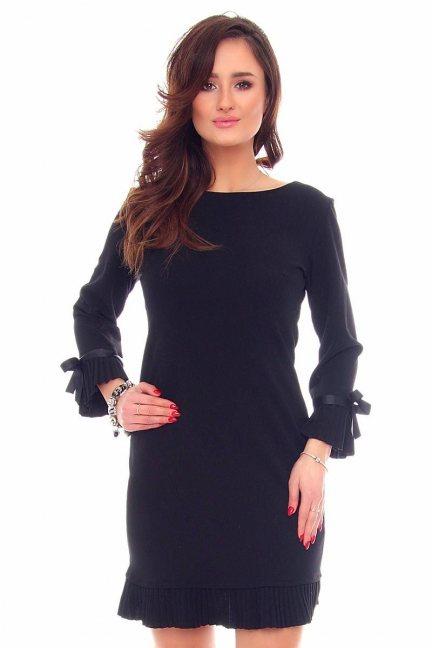 Sukienka plisowane falbanki CM530 czarna