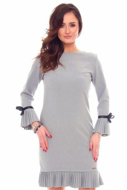 Sukienka plisowane falbanki CM530 szara