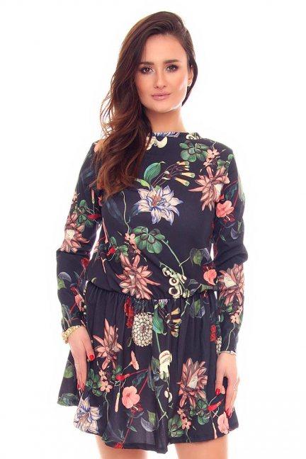 Sukienka w gumkę kwiaty CMK881 czarna