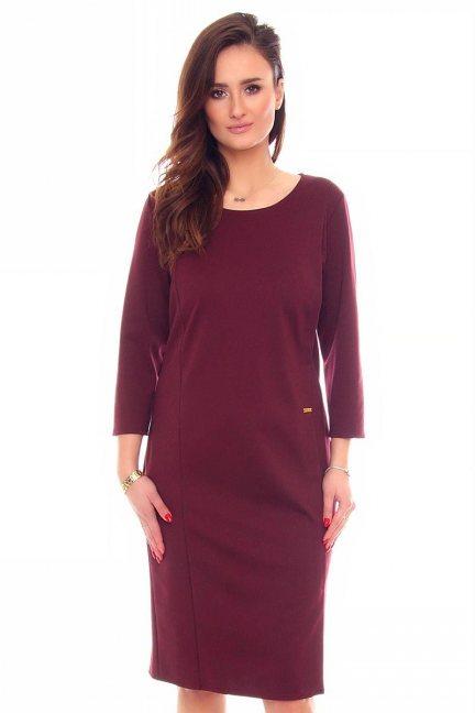 Sukienka elegancka midi CMK887 bordowa