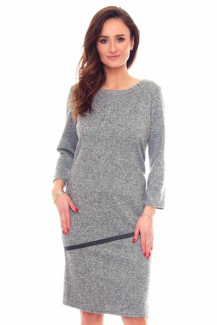Sukienka ołówkowa midi CMK888 szara