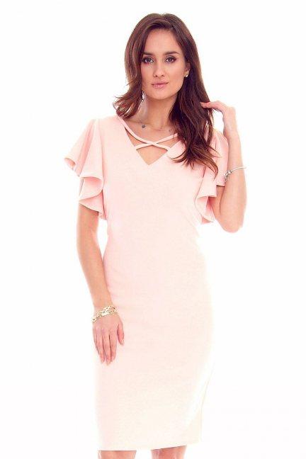 Sukienka damska falbanki CMK819 różowa