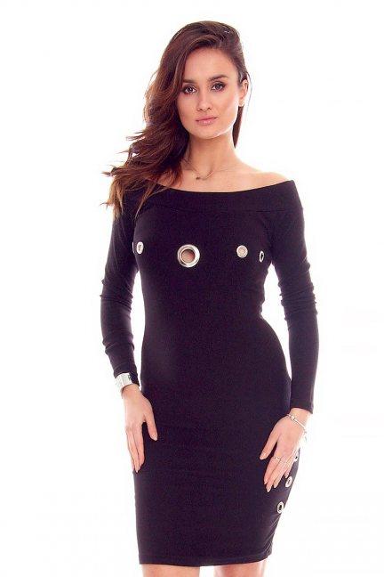 Sukienka odkryte ramiona czarna