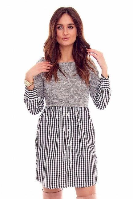 Sukienka koszulowa guziki CMK843 szara