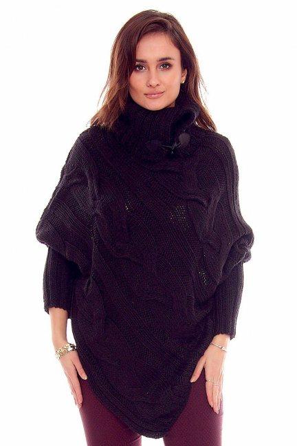 Sweter ponczo z guzikami CMK2006 czarny