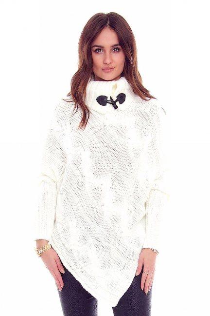 Sweter ponczo z guzikami CMK2006 ecru