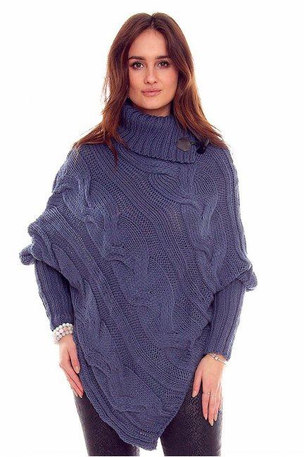 Sweter ponczo z guzikami CMK2006 niebieski
