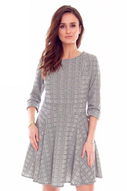 Sukienka rozkloszowana mini CMK831 szara
