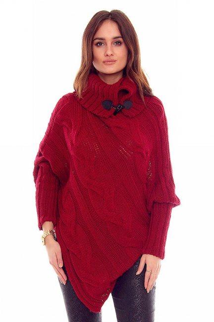 Sweter ponczo z guzikami CMK2006 bordowy
