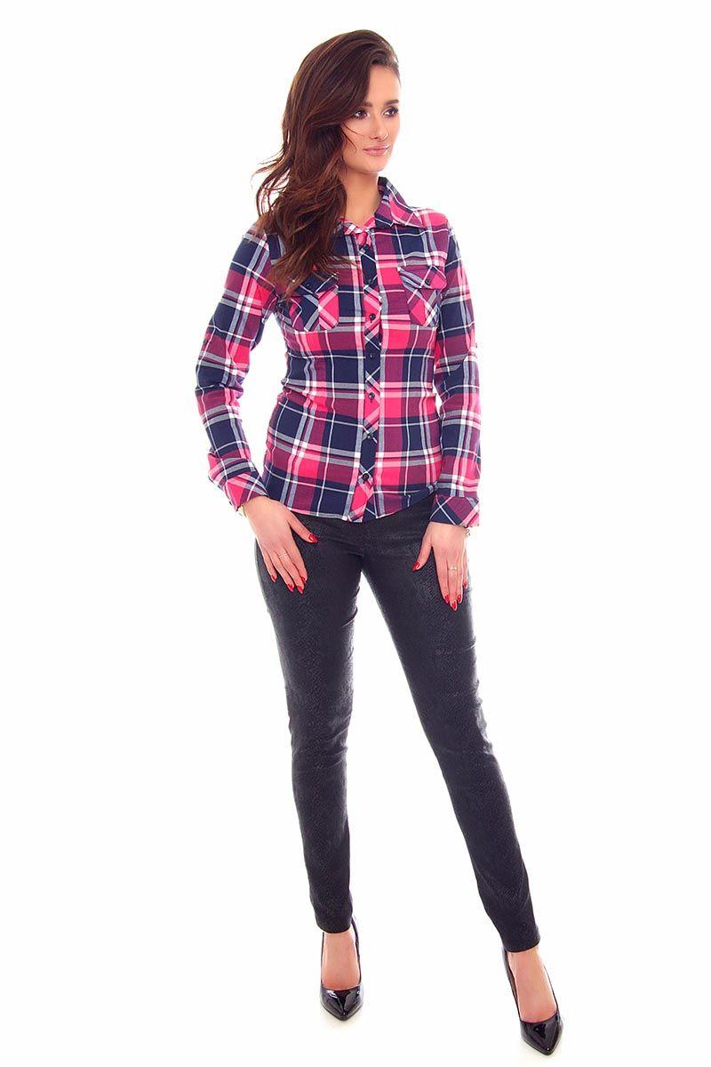 Koszula dopasowana w kratkę CMK64 różowa koszule damskie  UWYoC