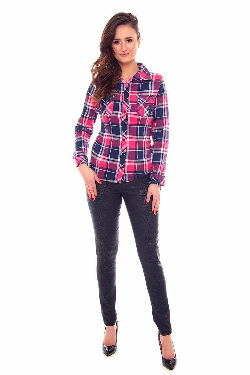 Koszula dopasowana w kratkę CMK64 różowa koszule damskie  lHZMr