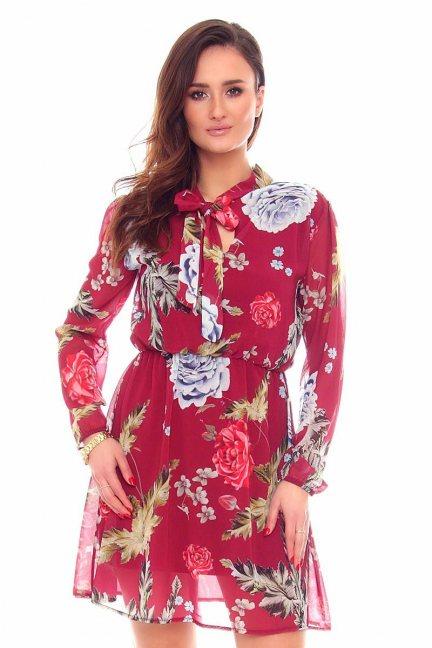 Sukienka wizytowa kwiaty CMK891 bordowa
