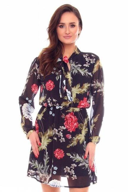 Sukienka szyfonowa kwiaty CMK891 czarna