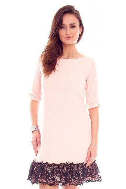 Sukienka trapez koronka CMK842 różowa