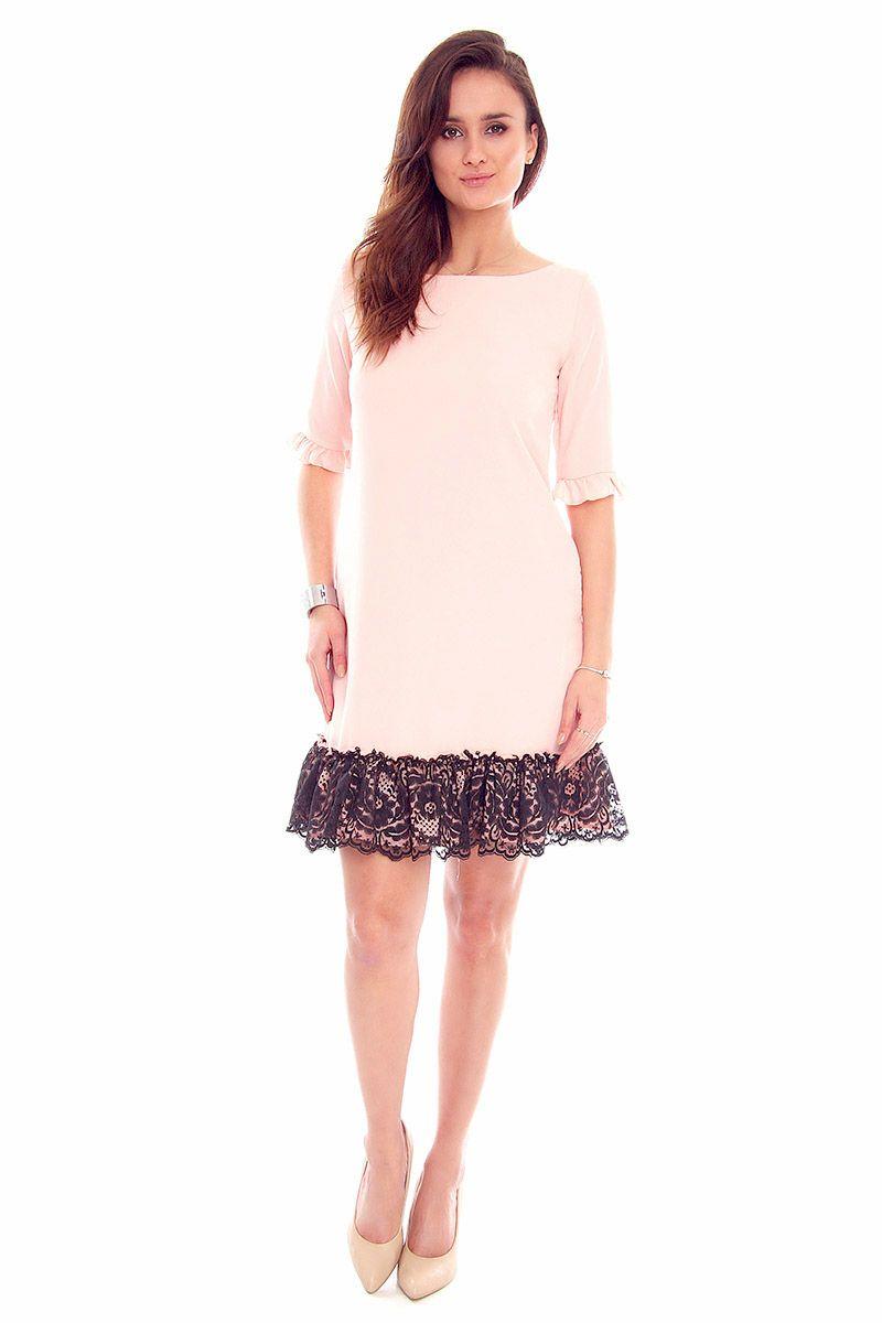 65c025e5c2 Sukienka trapezowa koronka CMK842 różowa  Sukienka damska modna  Sukienka  wizytowa ...