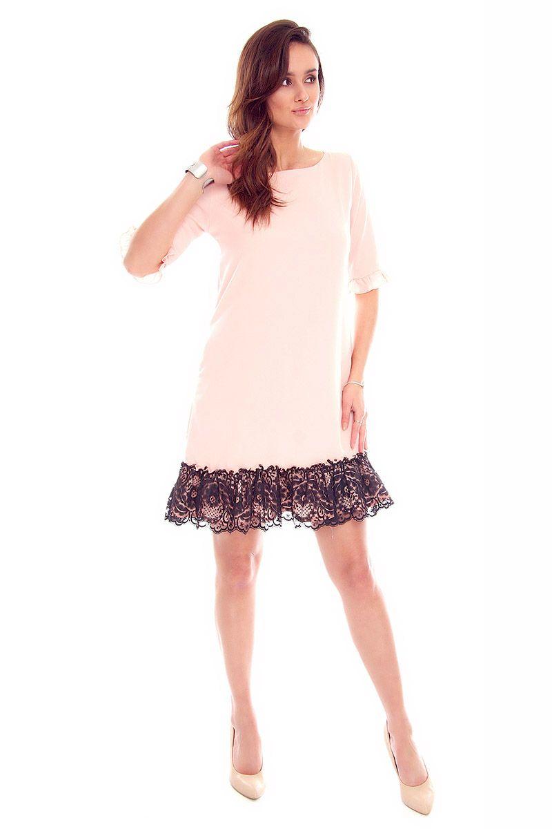 b78bc81ede Sukienka trapez koronka CMK842 różowa sukienka wizytowa sklep online