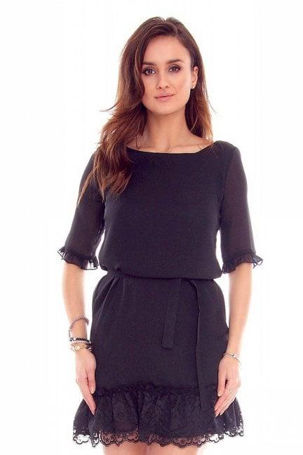 Sukienka trapez koronka CMK842 czarna