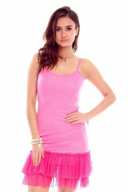 Halka z tiulem pod sweter tunika różowa
