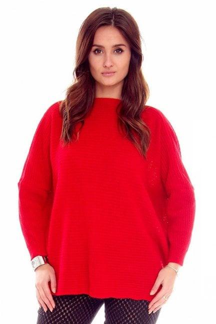 Sweter damski oversize CMK667 czerwony