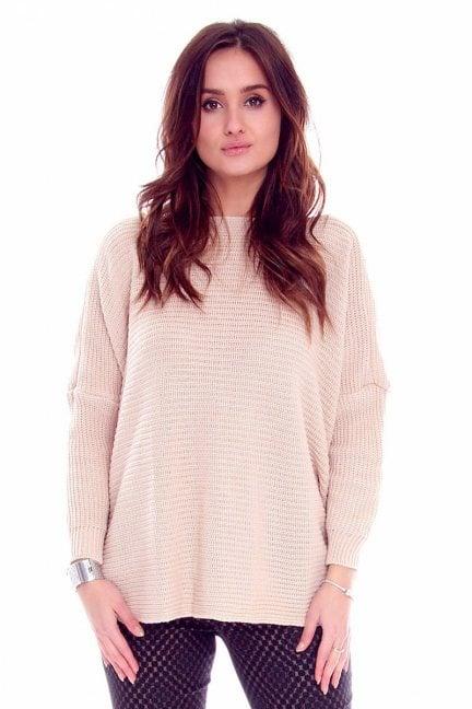 Sweter damski oversize CMK667 beżowy